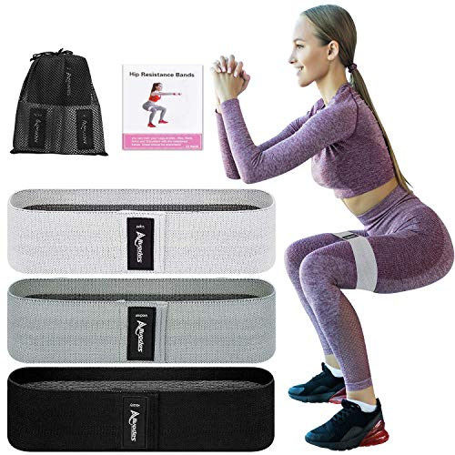 Allvodes Booty Bands, Fabric Resistance Bands for Legs and Butt, Non Slip Exercise Bands for Women Men, Elastic Strength Squat Band, Workout Beginner to Professional - 3 Pack Set (Grey)