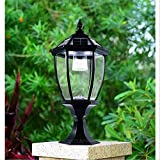Bonnie-Sam Solar Garden Wall Lamp LED Column Light for Villa Courtyard Artificial Palace Style (Black-lamp Post)