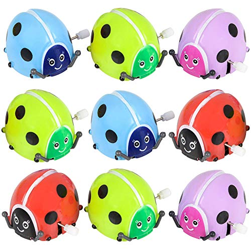 - Flipping Wind Up Lady Bugs (Pack of 12) in Assorted Bright Colors, Runs,Rotates, and Flips,Party Bag Filler for Kids