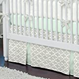 Carousel Designs French Gray and Mint Quatrefoil Crib Skirt Two Front Pleats 20-Inch Length
