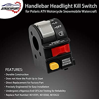 Handlebar Headlight Switch Hi/Lo/Off Beam Light/Kill/Stop | for 2001-2005 Polaris Sportsman 400 500 700 Magnum 325 330 Scrambler Xpedition Trail Boss ATP | Replaces# 4010591, 4010560, 4010422: Industrial & Scientific