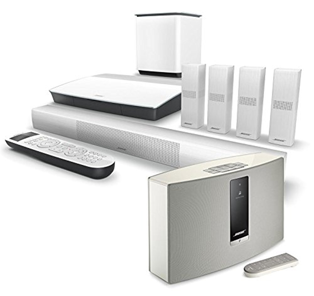 Bose Lifestyle 650 Home Entertainment System, White, with SoundTouch 20 Series III Wireless Bluetooth Speaker, White