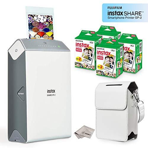 Fujifilm Instax Share Smartphone Printer SP2 (Silver) + Fuji Instax Mini Twin Pack Instant Film (80 Sheets) + Premium Protective Case + Microfiber Cleaning Cloth - Ultra Value Instant Printer Bundle (Printer Smartphone Case)
