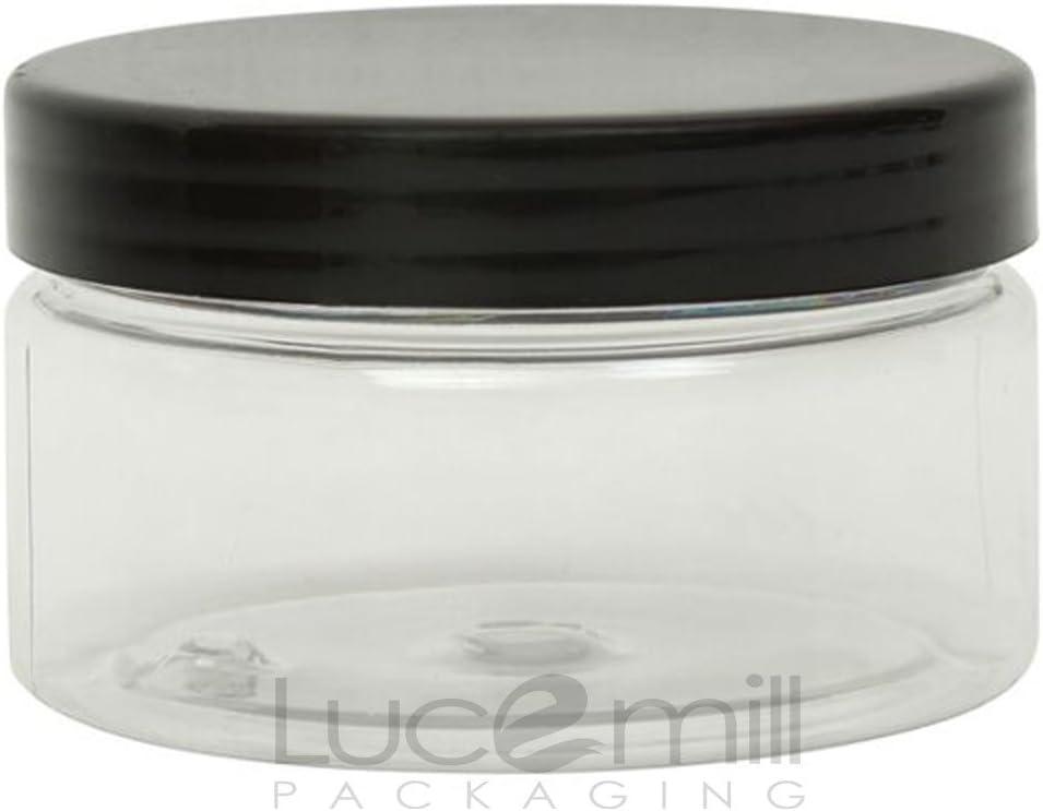 5x 100ml botes de plástico Pet Transparente Cosméticos w/negro tornillo tapas para cremas/líquidos/Make up/viaje/aceites