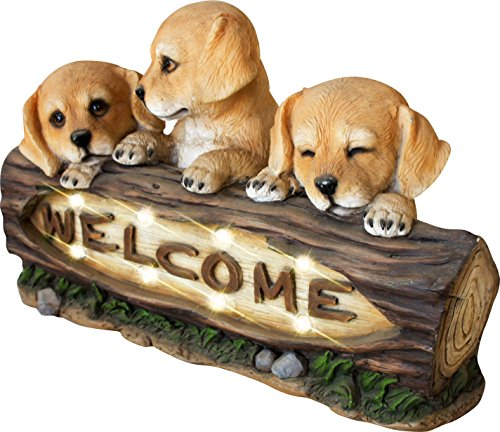 Welcome Garden Statue with Solar Powered LED Lights, 15 Inch Puppy Dog Decor for Outdoor Garden Yard, Mothers Day Gift (Statue Light Solar Garden)