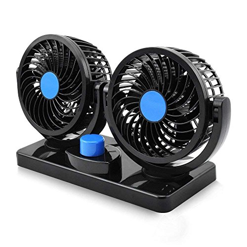 Electric Car Fan, Dual Head 2 Speed 12V Cooling Air Circulator - 360 Degree Rotatable Auto Fan for Sedan SUV RV Boat Auto Vehicles Golf Cart by Blu7ive ()