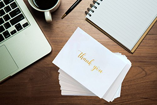 100 Thank You Cards Bulk - Gold Foil Letterpress Thank You Notes with Envelopes & Gold Sealing Stickers - Two Elegant Designs - Perfect for Baby Showers, Weddings, Graduations, Business - Blank Inside by Dayly Creations (Image #3)