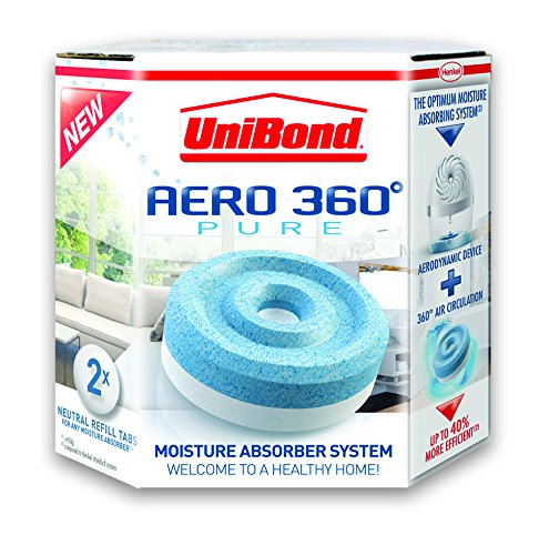 UniBond Aero 360 Moisture Absorber Neutral Refill Tabs, Pack of 2
