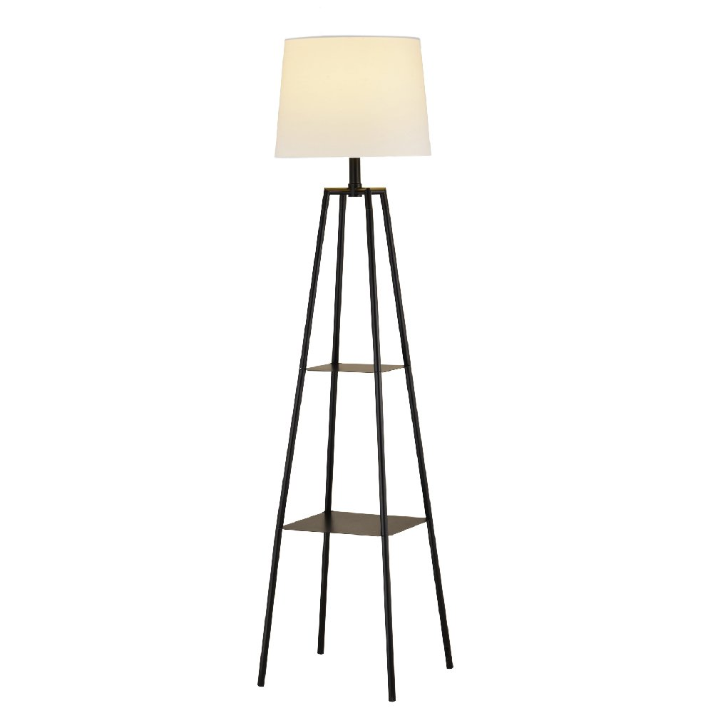 Mane Etagere Floor Lamp - Charcoal Black Floor Lamp with Beige Lamp Shade - Sturdy Metal Storage Shelves for Enhanced Home Decor - for Living Rooms, Bedrooms, Offices, and Studies