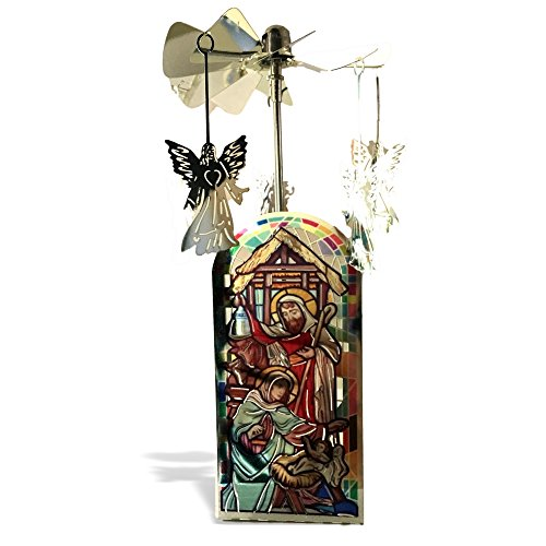 - BANBERRY DESIGNS Nativity Candle Holder - Spinning Candle with Nativity Scene and Rotating Angel Charms - Tea Light Candle Included