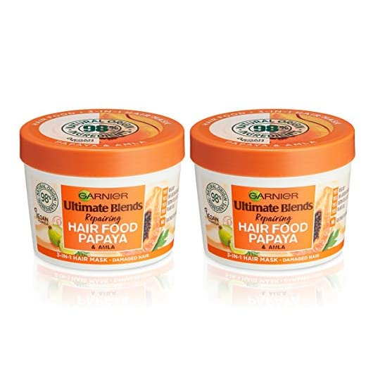 Garnier Ultimate Blends Hair Food Papaya 3-in-1 Damaged Hair Mask Treatment 390ml Dual Pack