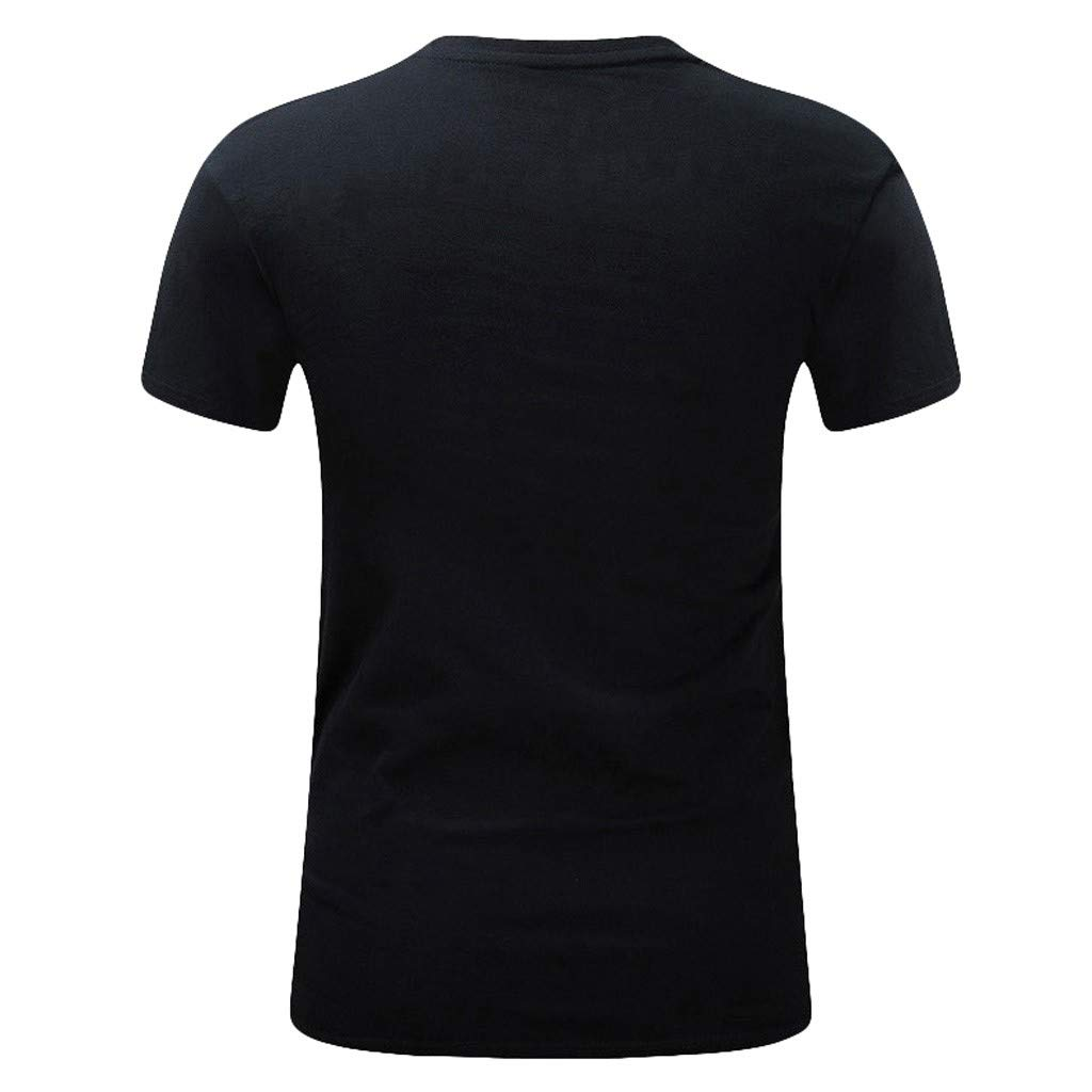Mens New Summer Printed Casual Short Large Size Round Neck T-Shirt Tops