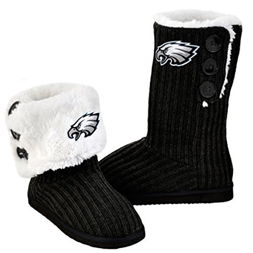 NFL Football Ladies Knit High End Button Boot Slippers - Black (Philadelphia Eagles, Medium)