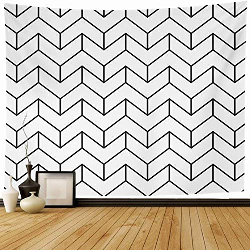 Ahawoso Tapestry Wall Hanging 60x50 Pattern Architectural Chevron Monochrome Istic Mono Black Contour Curve Decal Design Artistic Home Decor Tapestries Decorative Bedroom Living Room Dorm