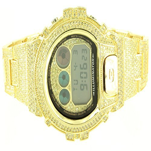 Genuine G-Shock Watch For Mens Having Yellow Canary Gold Finish With Lab Diamond