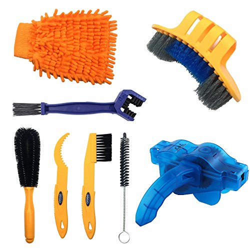 ecision Bicycle Cleaning Brush Tool Including Bike Chain Scrubber, suitable for Mountain, Road, City, Hybrid,BMX Bike and Folding Bike ()