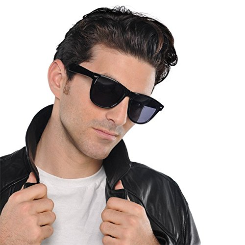 Nifty 50's Theme Party Wayfarer Glasses Accessory, Black, Plastic , Standard size, Pack of 10