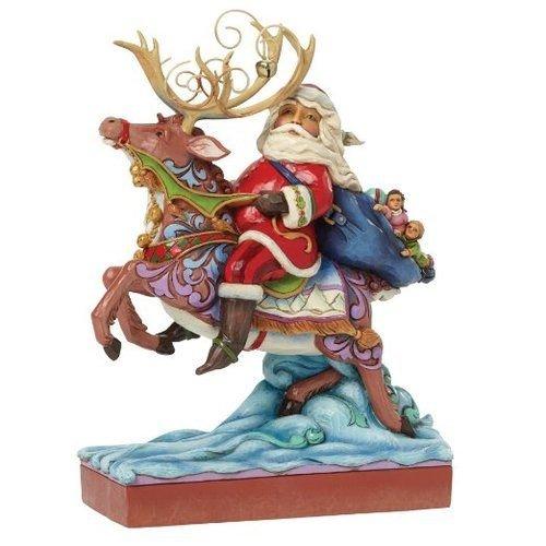 Jim Shore for Enesco Heartwood Creek Santa Riding Reindeer Figurine, 9-Inch