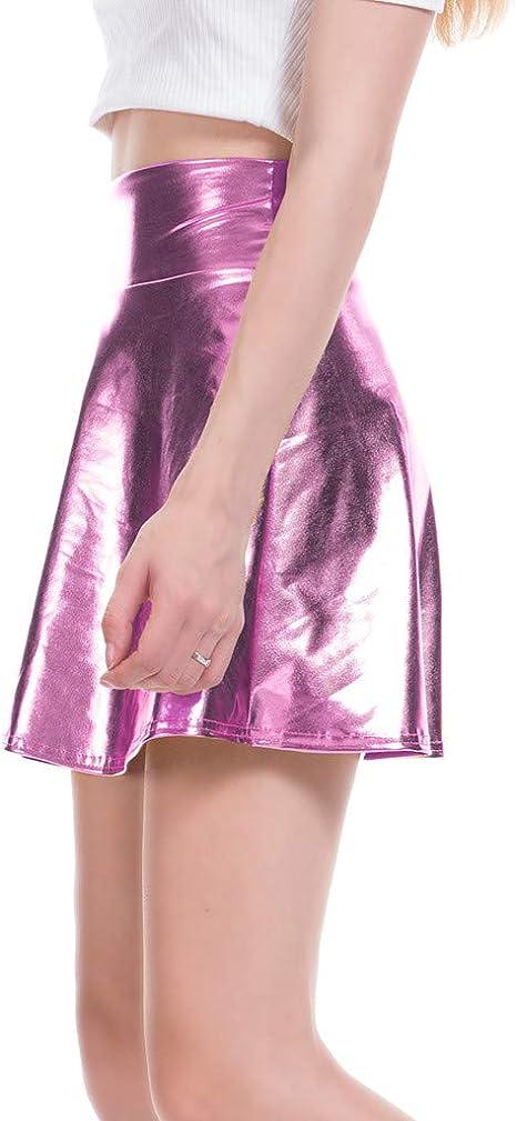 Sylar Falda Lentejuelas Mujer Falda Cuero Mujer Rosa Falda Plisada ...