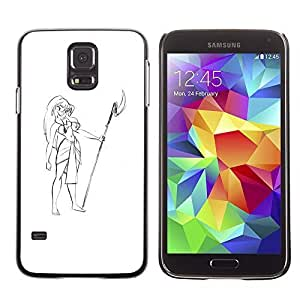 Colorful Printed Hard Protective Back Case Cover Shell Skin for SAMSUNG Galaxy S5 V / i9600 / SM-G900F / SM-G900M / SM-G900A / SM-G900T / SM-G900W8 ( Girl Hawaii Attire Spear Beach Drawing Art ) Kimberly Kurzendoerfer