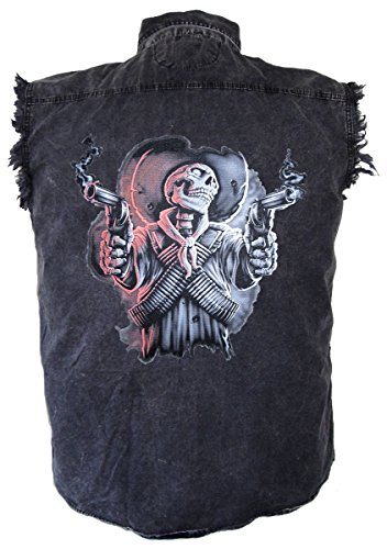 (Leather Supreme Men's Evil Skeleton Skull Gunslinger Denim Cutoff Biker)