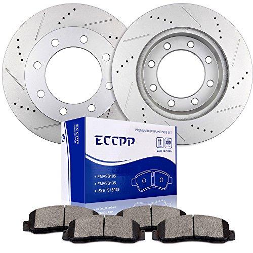Brake Rotors Brakes Pads Kits,ECCPP 2pcs Front Discs Brake Rotors and 4pcs Ceramic Disc Brake Pads Set for 2005 2006 2007 2008 2010 2011 Ford F-350 Super Duty