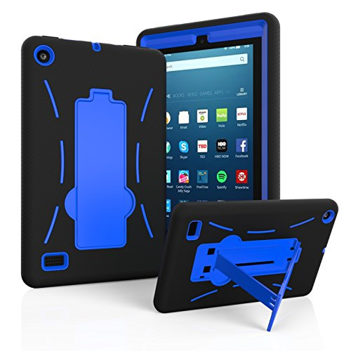 "Amazon Fire 7"" 2017 Case, EpicGadget(TM) 7th Generation Fire 7 Heavy Duty Hybrid Case Full Protection Cover with Kickstand For Fire 7 inch Display + Screen Protector and 1 Stylus (Black/Blue)"