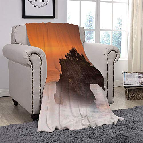 YOLIYANA Light Weight Fleece Throw Blanket/Balinese Decor,Temple Pura Tanah Lot Bali Indonesia Magical Romantic Sunset Exotic Holidays,Orange Brown/for Couch Bed Sofa for Adults Teen Girls Boys