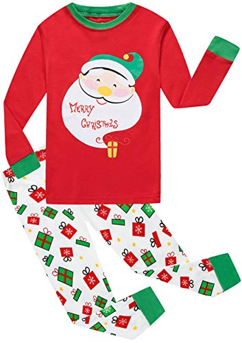 (Christmas Pajamas Pants Set Cotton PJS Gift 2 Piece Set Kids Sleepwear Toddler Red Santa Claus Clothes 5t)