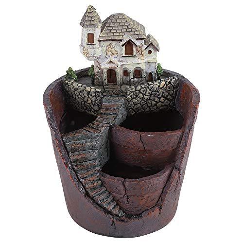 Plant Pot, Creative Resin Succulent Flower Pot Container Flower Basket Plants Succulent DIY Container Decorated for Home Garden Office Decor Gift(Castle)