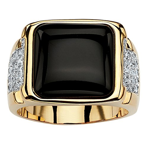 Pave Black Onyx - Palm Beach Jewelry Men's Genuine Black Onyx and Cubic Zirconia 14k Gold-Plated Cabochon Pave Classic Ring Size 11