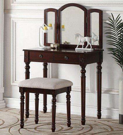 Amazoncom Advanced Furniture Modern Espresso Vanity Set With Tri