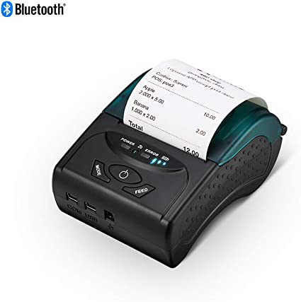 MUNBYN Thermal Printer, 58mm Bluetooth Thermal Receipt Printer, Wireless Mobile POS Receipt Printer for PC Android iOS ESC/POS/Star Print Commands Set