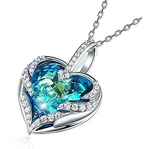 """CRYSLOVE Cadeau de fête des mères""""Coeur d'Océan"""" Collier Femme Bijoux Bleu Cristal Coeur Pendentif Collier Maman"""
