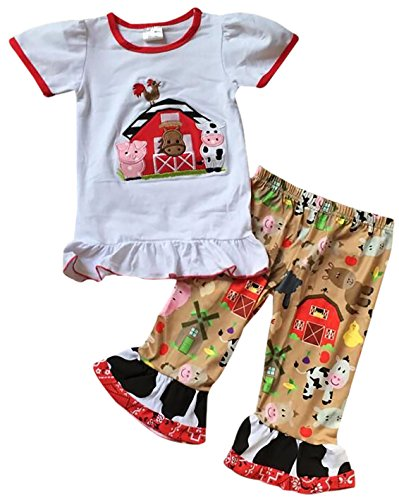 Dreamer P Little Girls' 2 Pieces Capris Set Farm House Animal Cow Pig Tops Shorts Outfit White 5 L (P317815P) (Set Piece 2 Capri)