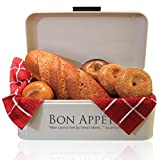 Large Metal Bread Box for Kitchen   Bread Bin   Bread Storage   Bread Holder   Cream Color   Stainless Steel   Retro Vintage Design 16.7''x9''x6.5'' & FREE Bonuses by A.B.D. Trades