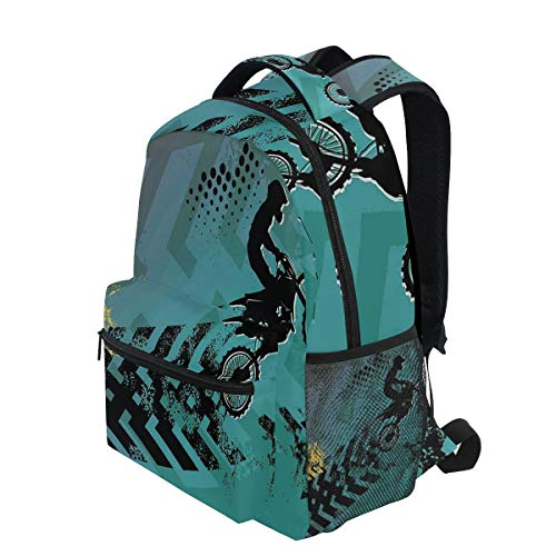(KVMV Extreme Sports Theme Stunt Racer Silhouette with Grunge Arrows Lightweight School Backpack Students College Bag Travel Hiking Camping)