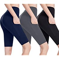 we fleece Pocket Yoga Shorts for Women Athletic Workout Running High Waist Tummy Control Non See-Through Soft Legging