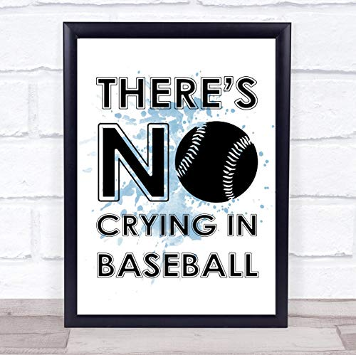 123 BiiUYOO Blue Theres No Crying in Baseball A League of Their Own Quote Wall Art Print Poster Picture 12