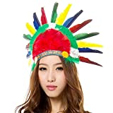 Unisex Adults Kids Native American Feather Headdress Women Girls Halloween Carnival Festival Costume Headwear Fancy Dress Party Cosplay Indian Chief Feather Hat Headband Headpiece