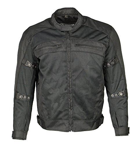 M-Boss Motorcycle Apparel-BOS11705-BLACK-Men's Mesh & Nylon Racer Jacket -BLACK-4XL by M-Boss Motorcycle Apparel