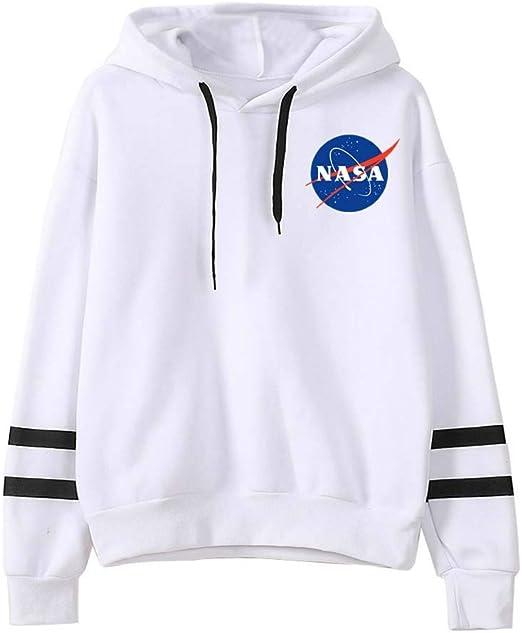 CORIRESHA Large Front NASA Logo Stripe Sleeve Hoodie Sweatshirt