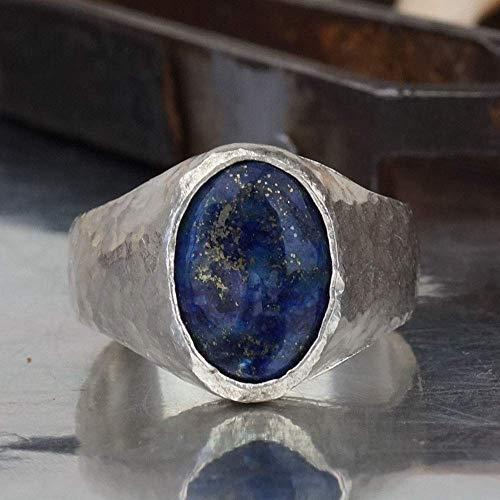 Bold Collection By Omer Large Lapis Men's Ring Handmade 925 Sterling Silver - Lapis Lazuli Coin