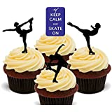 Keep Calm and Skate On - Ice Skating Edible Cupcake Toppers - Stand-up Wafer Cake Decorations by Made4You