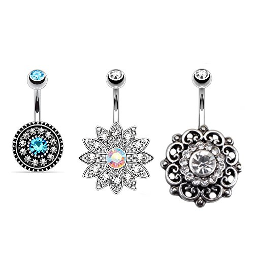 (Kokoma 3Pcs 14g Belly Button Rings Surgical Steel Flower Navel Bars Body Piercing Barbells Jewelry)