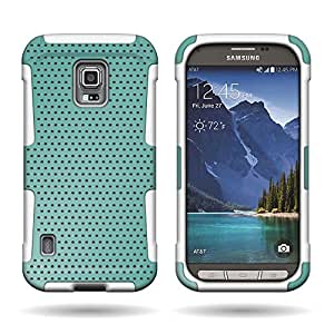 CoverON Hybrid Dual Layer Mesh Case for Samsung Galaxy S5 Active - Teal + White