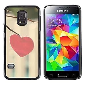 TopCaseStore / la caja del caucho duro de la cubierta de protección de la piel - Love Minimalist Heart - Samsung Galaxy S5 Mini, SM-G800, NOT S5 REGULAR!