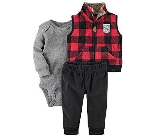Carter's Baby Boys' 3 Piece Plaid Patch Little Vest Set - - Buffalo Vest Plaid