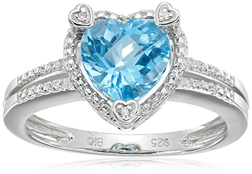 Lavari - 2.20 Ct Heart Natural Blue Topaz Diamond Accent 925 Sterling Silver Ring Sz - Ct 2.2 Heart