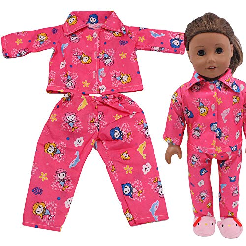 Livoty Doll Clothes Outfits Set Doll Pajamas Printed for 18 Inch American Toy Girl Doll Accessory Girl's Toy (Hot Pink) ()